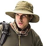 メンズ レディース 帽子 つば広 軽量 日除け uvカット 折りたたみ あご紐付き 吸汗 速乾バケツハット アウトドア 釣り ハイキング 登山 男女兼用 サンハット (アーミーグリーン)