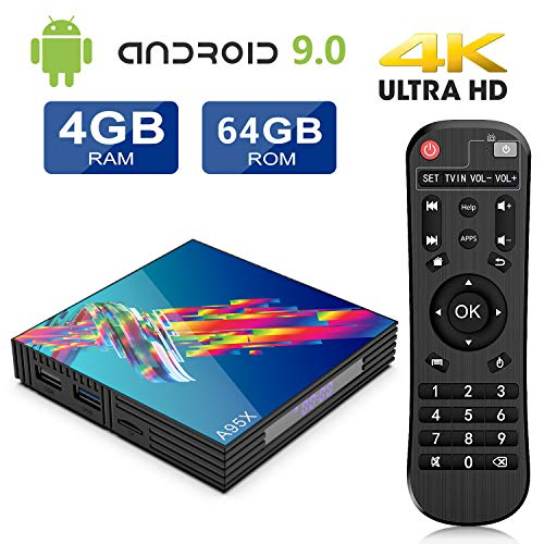 A95X Android 9.0 TV Box 4GB RAM+64GB ROM RK3318 Quad-core Cortex-A53 CPU Bluetooth 4.2 Dual Band WiFi 2.4G/5G Ethernet 100M H.265 Android 9.0 Smart TV Box