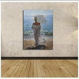 XingChen Cuadros de Pared 20x30cm sin Marco Hermosa Mujer Frente al mar Set para Pintar sobre Lienzo con decoración de Pared para Sala de Estar