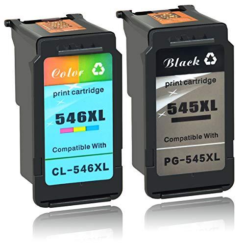 NineLeaf 2 gereviseerde PG-545XL CL-546XL inktcartridges compatibel voor Canon 545XL 456XL Pixma MG2400 MG2450 MG2455 MG2500 MG2550 MG2550S printer 1 zwart 1 kleur
