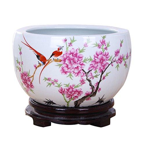 Pot de fleurs BOBE Shop en céramique de Style Chinois Pas de Plateau/Plante hydroponique Pot de Plante succulente/récipient de décoration intérieure en Table (Taille : L)