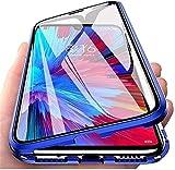 youmehe magnética Funda para Xiaomi Mi A3, 360 Grados Metal Choque Cubierta Doble Cara Transparente Vidrio Templado Cobertura de Completa,Adsorción Magnética Parachoques de Metal Carcasa-Azul