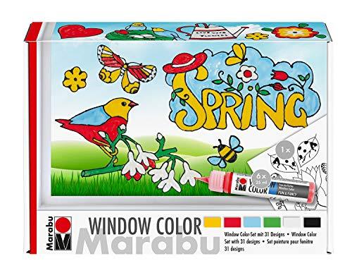 Marabu 0406000000127 - Window Color fun & fancy Set Spring Time, Transparentfarbe auf Wasserbasis, für glatte Oberflächen, 6 x 25 ml Farbe, Malfolien und Vorlage mit frühlingshaften Motiven