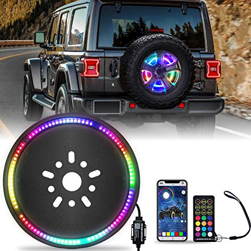 omotor RGB Third Brake Light Spare Tire Brake Light for 2007-2020 Jeep Wrangler JK JL with RF Wireless Remote and APP Controller