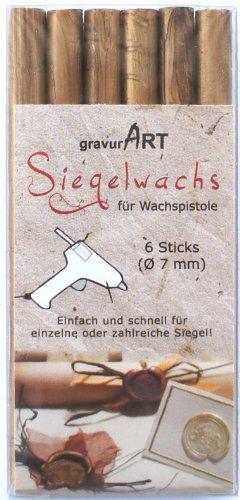 gravurART - 7mm Siegelwachs für Wachspistole - gold - 6er Pack