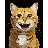 Z Paint by Numbers Animales con pinceles y pigmento acrílico DIY lienzo pintado a mano para adultos principiantes, decoración del hogar, dormitorio – gato sonriente 16 x 20 pulgadas (sin marco)