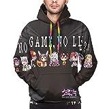 Goredi Men's Anime 3D Pattern Hoodies No Game No Life Shiro Jibril Sora TET Sweatshirts Black