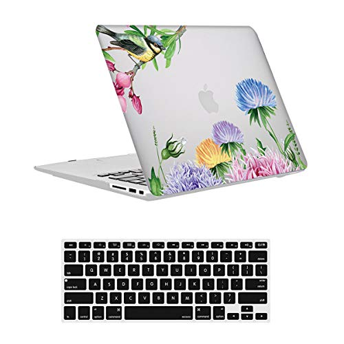 Vamkotec Laptop Case for MacBook 2016 PRO13 (A2159;A1989;A1706;A1708), Snug Touch Hard Case Shell Cover & Keyboard Skin,Both Light Weight and Durable,Bird Flower375 and Keyboard Skin
