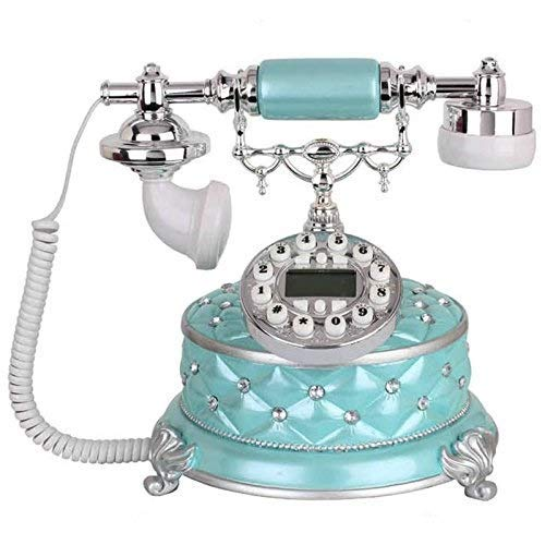 YUBIN Teléfono Teléfono Familia Retro Vintage Botón Dial Teléfono Familia Sala de Estar Fijo Decoración de Escritorio Decoración Línea (Color: Blanco) (Color : Sky Blue)