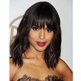 AISI HAIR Wavy Bob Wigs with Bangs for Women Black Mixed Brown Color Short Wavy Bob Curly Wig Synthetic Natural Looking...