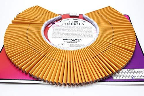 Doppellose am Ring, Farbe orange, 100 Tombola Lose mit Doppelnummern 1-100