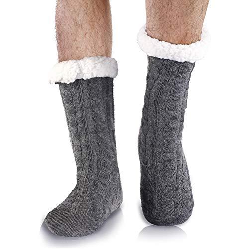 Belloxis Kuschelsocken Wintersocken Herren Warme Flauschige Dicke Hüttensocken Haussocken mit Noppen Geschenk für Männer Weihnachten 38-44 (Grau, 1)