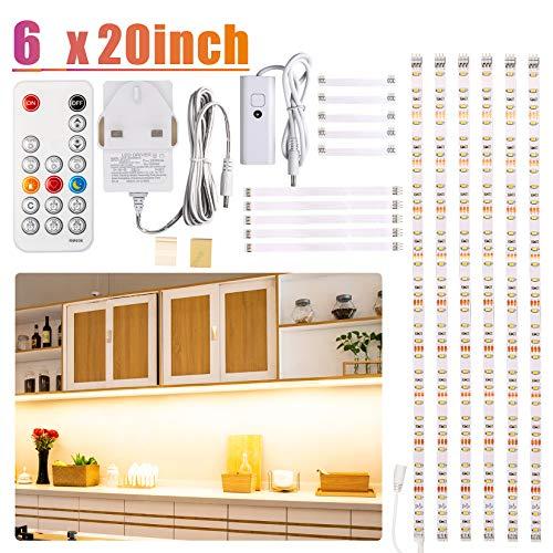 LED-Lichtleisten-Set für Schrank, mit Fernbedienung, Dimmer und Adapter, dimmbar, für Küchenschrank, Theke, Regal, TV-Rückwand, bieten 2700 K, Warmweiß, hell, Timer, 6 Stück warmweiß