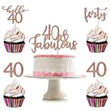 40 and Fabulous Cake Topper and 24Pcs Forty 40 Hello 40 Cupcake Toppers- Rose Gold Glitter, 40th Birthday Cake Topper, Rose Gold Cupcake Toppers 40, 40th Birthday Decorations for Women