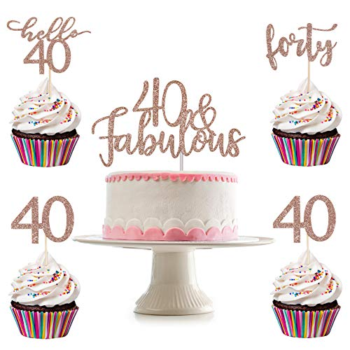 Rose Gold Glittery 40 & Fabulous Cake Topper and 24Pcs Rose Gold Glittery Forty Hello 40 40 Cupcake Toppers- 40th Birthday Party Decorations,40 Fabulous Decorations,40th Birthday Cake Topper Decor,Anniversary Decor,40 Rose Gold Toppers