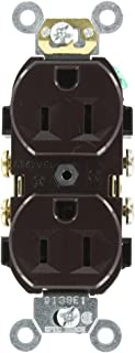 Leviton CR15 15-Amp, 125-Volt, Narrow Body Duplex Receptacle, Straight Blade, Commercial Grade, Self Grounding, Side Wired, Brown