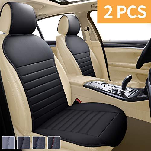 EifBrisa Leather Seat Protector Sideless Front Car Seat Covers Cushion Universal Fit 95% of Cars (Sedan/SUV/Pickup/Truck/Van), 1Pair Black