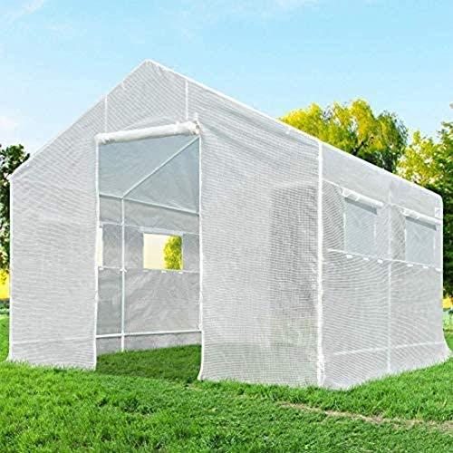 Greenhouse, Zipper Doors Large Walk-In Outdoor Plant Gardening Greenhouse Flower Gardening Grow Seeds