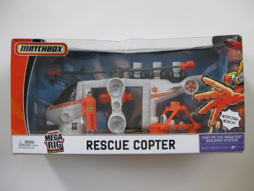 Mattel Matchbox Mega Rig Rescue Copter Emergency Action Pack