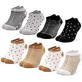 Occulto 8 pares de Calcetines para Mujer | Calcetines para Zapatos de Verano para Mujer | Calcetines cortos de Algodón para Mujer 39-42 Negro-marrón