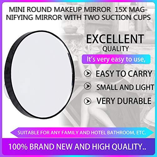 Vanity Makeup Mirror 10X Espejo de Aumento con Dos ventosas Herramientas de cosméticos Mini Espejo Redondo Espejo de baño - Negro