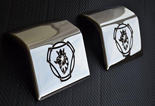 2 x Miroir en acier inoxydable Finition métal logement de garde-boue pour Scania Miroir en acier inoxydable Finition métal logement de garde-boue pour Scania Série R P G T Euro 3 4 5 et 6