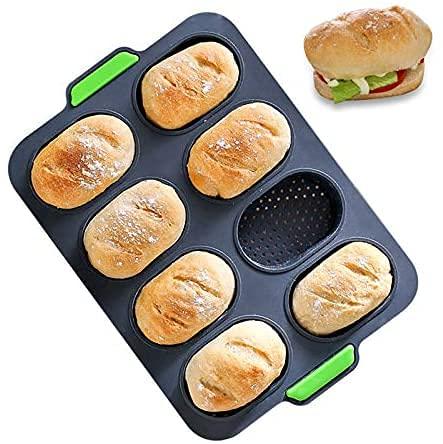 HXYA Baguette - Bandeja para hornear (silicona, antiadherente, perforada, para hornear, pan francés, pan y pan)