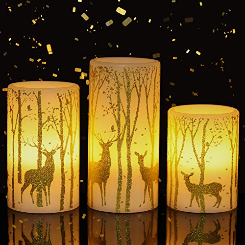 Eldnacele Flameless Candles Flickering with 6H Timer, 3...