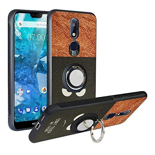 Alapmk Kompatibel mit Nokia 7.1 2018 Hülle, Pattern Design [Kratzfest] TPU Schutzhülle Hülle mit Metallfingerringständer [Magnetic Car Mount], Stoßfest Handyhülle Cover für Nokia 7.1 2018,Do not Touch