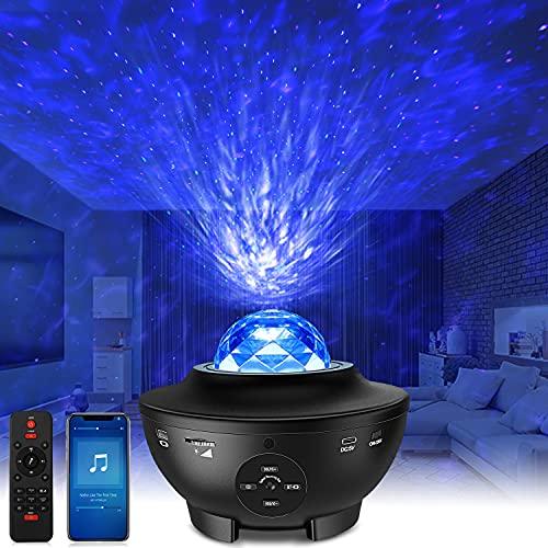 Galaxy Light LED Sternenhimmel Projektor - Starry Projector Light mit Wasserwellen, Bluetooth-Lautsprecher Funktion, Galaxy Projektor für Kinder Erwachsene Geschenke