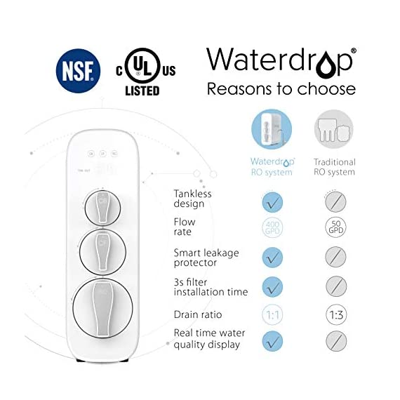 "Waterdrop RO Reverse Osmosis Water Filtration System, NSF Certified, TDS Reduction, 400 GPD Fast Flow, Tankless, Compact… 3 Three filters are included in the package. Search ""Waterdrop WD-G3-W Filter"" for replacement filters : The system is certified against NSF 58 for TDS reduction. Using reverse osmosis filtration technology with a filtration accuracy of 0. 0001μm, the system can effectively remove most contaminants including fluoride, TDS, limescale, and heavy metals in your tap water. System is also NSF 372 certified for lead free material : Waterdrop RO water filtration system is an innovative, all-in-one intelligent water purification system. In just a few minutes, Waterdrop RO system can be installed completely, and in just three seconds, the filter can be changed with one single turn. Installation is that easy"