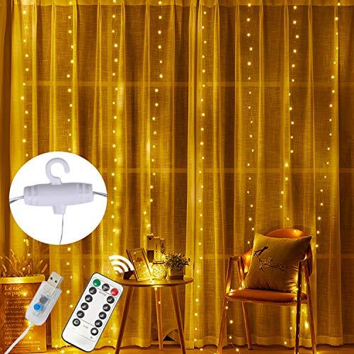 Cadena Luz de Cortina USB Cortina de Luces de Cortina con Mando a Distancia 8 Modos de Luz, Resistente al aguapara para Decoración Ventana,Navidad,Fiestas(9.8ft, Blanco cálido)