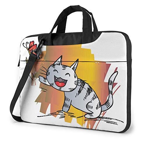 Cute Cat Hunts On A Butterfly Laptop Case 13 Inch Computer Carrying Protective Case with Strap Bag