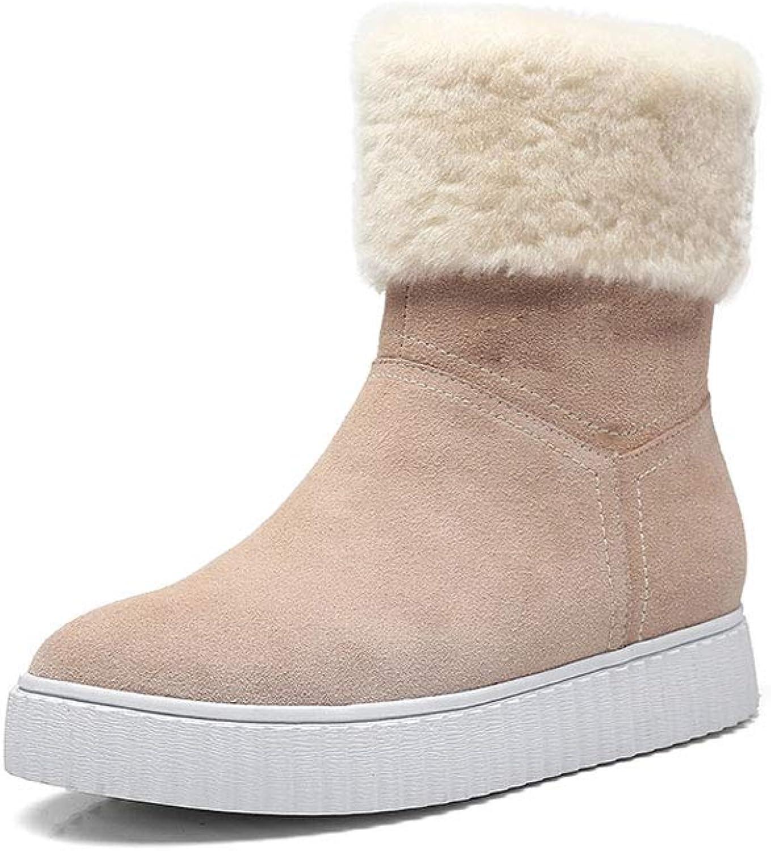 Ailj Snow Boots, Women's Leather Padded Plush Warm Boots Flat Waterproof Short Boots Cotton shoes (2 colors) (color   Beige, Size   39 EU 7 US 6 UK 24.5cm JP)