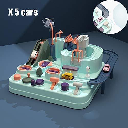 MOKY Cars Track mit 5 CarsToys für Jährig Junge Mädchen, Stadt Rettungstechnik Fahrzeuge Auto Abenteuer Spielzeug Spielset, Kinderspielzeug Alter 3+