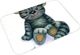 YOLIYANA Cat Lover Decor Multi Function Floor Mat,Happy Teddy Cat Illustration with a Dead Fish Skeleton Sweet Cartoon Toy Humor Print for Bedroom Bathroom,23