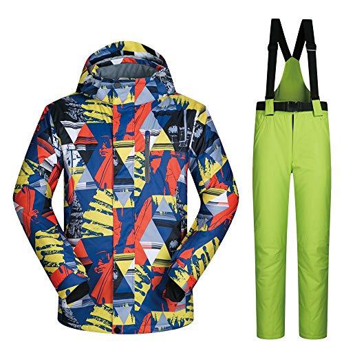 Vestes de Ski imperméables Hommes Pantalons Ensemble Coupe-Vent Snowboard Jakets coloré imprimé Habineige (Color : B, Size : M)