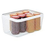mDesign Caja multiusos de metal de 30,5 cm x 22,9 cm x 15,2 cm – Organizador de cocina, despensa,...