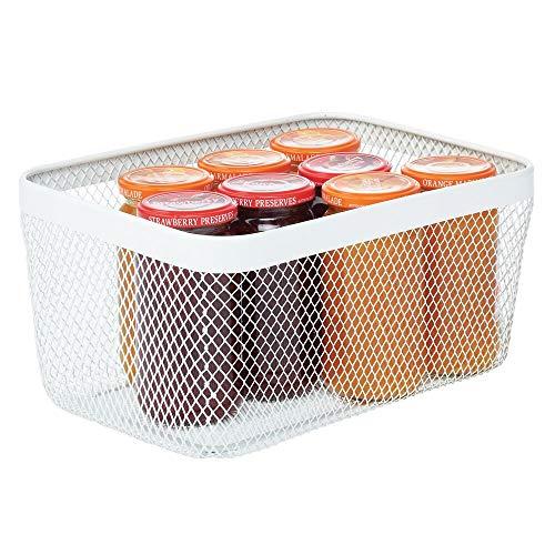 mDesign Caja multiusos de metal de 30,5 cm x 22,9 cm x 15,2 cm – Organizador de cocina, despensa, baño y más – Cesta de almacenaje de alambre, compacta y universal – blanco