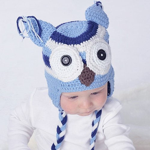 Toddleer - Gorro de ganchillo para bebé, gorro de ganchillo, sombrero de animales, búho con color azul claro, hecho a mano con 100% hilo de algodón de proteína de leche (tamaño mediano: 45,7 a 45,8 cm)