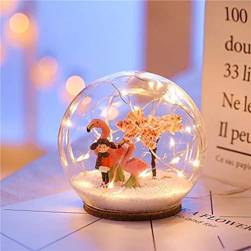 Luz nocturna de 1 unidad/12 – 8 cm Chirstmas ciervo LED Crystal Ball 3D Lámpara Usb Night Light LED Craft Cristal Round Sphere