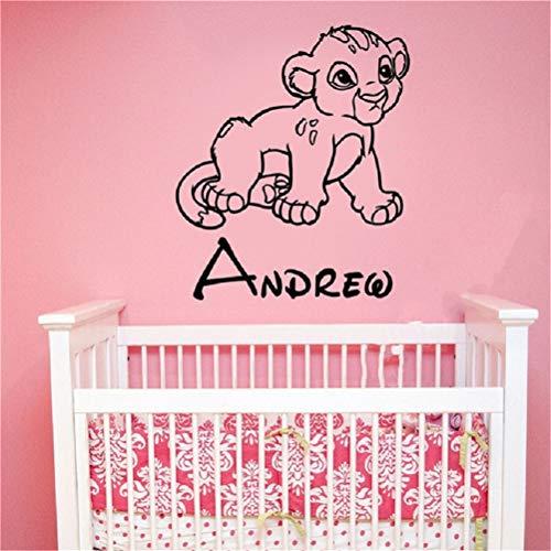 Stickers Muraux Cool Roi Lion Simba Bébé Autocollant Personnalisé Nom Enfants Garçons Chambre Chambre Décoration