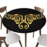 """SfeatrutMAT Elastic Edged Polyester Fitted Table Cover,Gold Vintage Baroque Frame Scroll,Fits up 40""""-44"""" Diameter Tables,The Ultimate Protection for Your Table"""