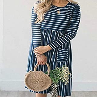 QGTDRESS Round Neck Striped Double Pocket Long-Sleeved Dress, Size: L(Red) (Color : Blue)