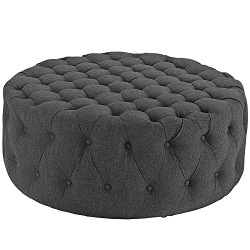 Modway Amour Fabric Upholstered Button-Tufted Round Ottoman in Gray
