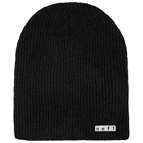 NEFF mens Daily Beanie, Warm, Slouchy, Soft Headwear Beanie Hat, Black, One Size US