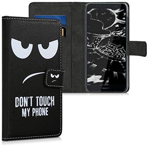 kwmobile Hülle kompatibel mit Huawei Y6 (2018) - Kunstleder Wallet Case mit Kartenfächern Stand Don't Touch My Phone Weiß Schwarz