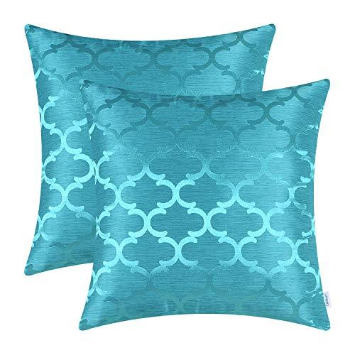CaliTime Fundas de Cojines Paquete de 2 45 cm x 45 cm Lago Azul Brillante y...