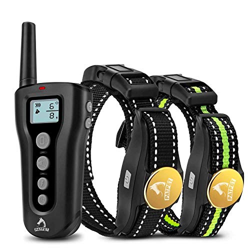 PATPET Dog Training Collar for 2 Dogs with 1 Remote Rechargeable Waterproof Shock Collar for Dogs 3 Training Modes, Beep Vibration and Shock, Up to 1000Ft Remote Range