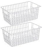 SANNO Wire Storage Baskets Freezer Storage Bins and Baskets Bins Large Organizer Bins Basket with Handles for Kitchen Cabinets, Pantry, Bathroom, Laundry Room,Kitchen, Closets, Garage-White